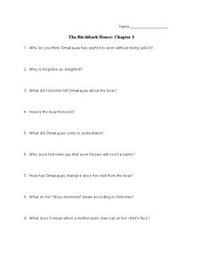 The Birchbark House: Chapter 3 Worksheet