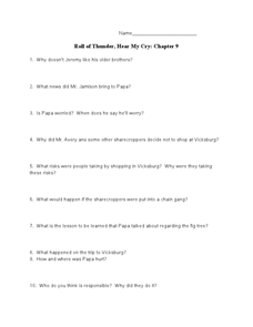 Roll of Thunder, Hear My Cry: Chapter 9 Worksheet