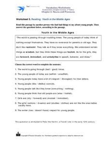 Youth in the Middle Ages Worksheet