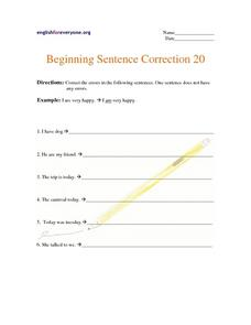 Beginning Sentence Correction 20 Worksheet