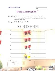 Word Construction #6 Worksheet