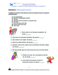 Things People Should Do Worksheet