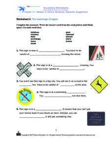 The meaning of signs Worksheet