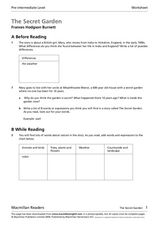 The Secret Garden by Frances Hodgson Burnett Worksheet