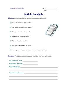 Article Analysis Worksheet