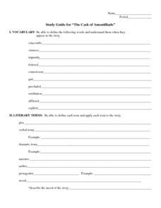 the cask of amontillado study guide lesson plan for 6th 8th grade rh lessonplanet com Cask of Amontillado Fortunato Character Montresor Cask of Amontillado