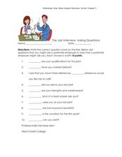 The Job Interview-Asking Questions Worksheet