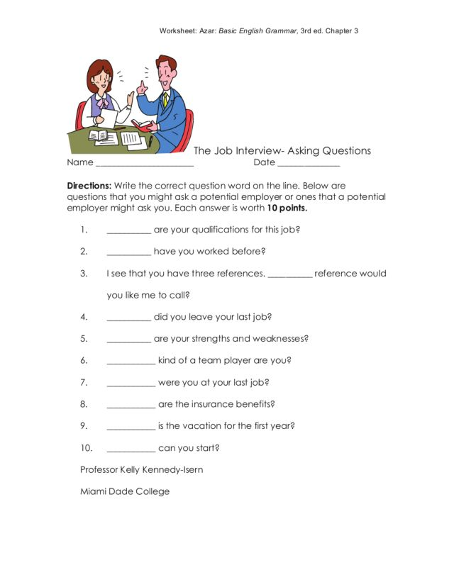 The Job Interview-Asking Questions Worksheet for 5th - 6th ...
