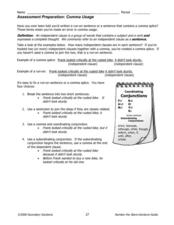 Comma Usage: Assessment Preparation Worksheet