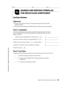 naming and writing formulas for molecular compounds worksheet for 10th 12th grade lesson planet. Black Bedroom Furniture Sets. Home Design Ideas