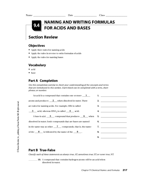 Naming Acids And Bases Lesson Plans Worksheets Reviewed By Teachers