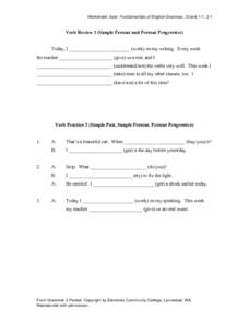 Simple Present and Present Progressive Worksheet