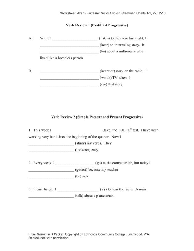 Verb Review 1 (Past/Past Progressive) Worksheet