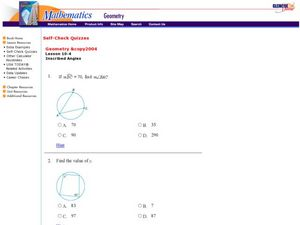 Inscribed Angles Worksheet