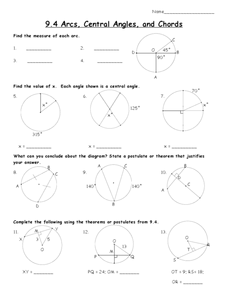 Arcs, Central Angles, and Chords Worksheet for 10th Grade ...