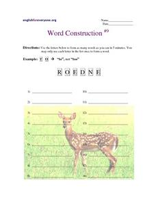 Word Construction #9 Worksheet
