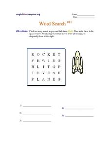 Word Search #11: Flight Worksheet
