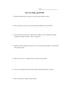 Tears of a Tiger pp 166-180 Lesson Plan
