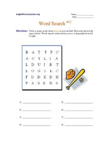 Word Search #12: Sports Worksheet