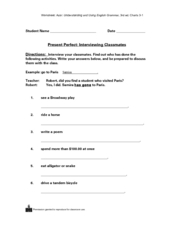 Present Perfect: Interviewing Classmates Worksheet