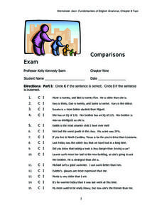 Comparisons-- Exam Worksheet