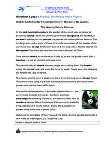 Worksheet 4, page 1. Reading: The Wolong Nature Reserve Worksheet