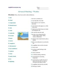 Advanced Matching--Weather Worksheet
