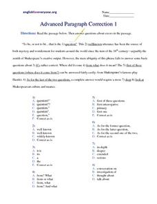Advanced Paragraph Correction #1 Worksheet