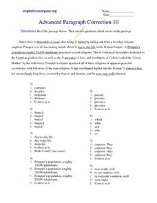 Correcting Paragraph Errors Worksheet
