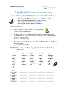Alphabetization Worksheet
