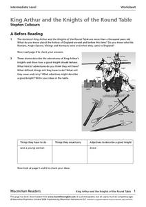 King Arthur and the Knights of the Round Table by Stephen Colbourn Worksheet