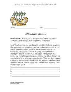 Passive Sentences- A Thanksgiving Story Worksheet