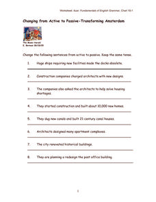 Changing from Active to Passive Verbs Worksheet
