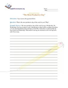 "Advanced Question Response ""The Most Productive Day of the Week"" Writing Prompt"