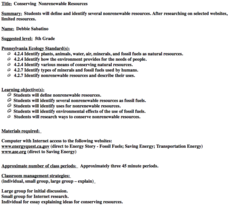 Conserving Nonrenewable Resources Lesson Plan