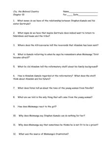 Cry, the Beloved Country Chapter 10 Worksheet