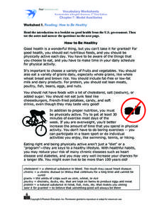 Worksheet 1. Reading: How to Be Healthy Worksheet