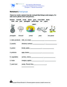 Worksheet 4. Food Groups Worksheet