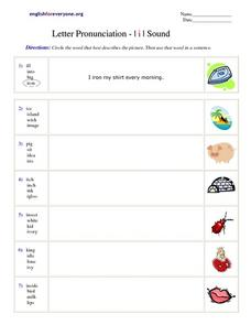 Letter Pronunciation - I i I Sound Worksheet