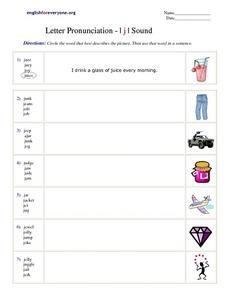 Letter Pronunciation - I j I Sound Worksheet