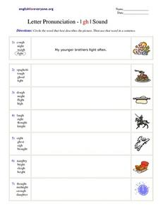 Letter Pronunciation - I gh I Sound Worksheet