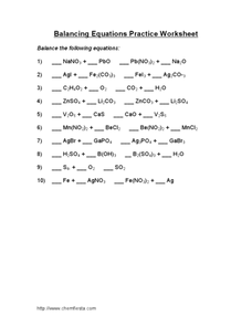 Balancing Equations Practice Worksheet Worksheet for 10th ...
