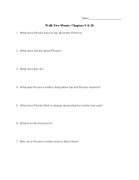walk two moons worksheets com walk two moons chapters 9 10 7th 10th grade lesson plan