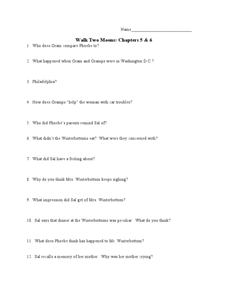 Walk Two Moons: Chapters 5 & 6 Lesson Plan