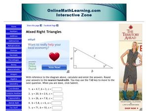 Mixed Right Triangles Worksheet