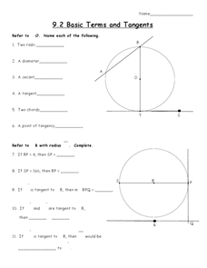 Basic Terms and Tangents Worksheet