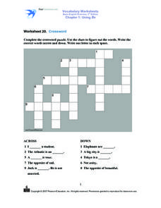 Crossword Puzzle, a and an clues Worksheet