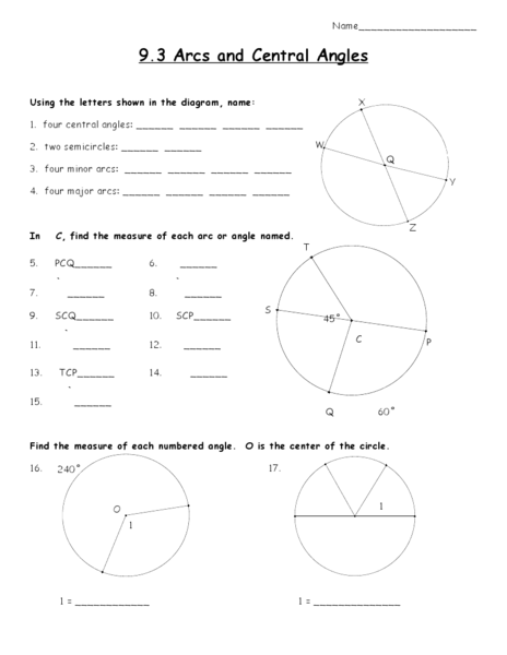 Arcs And Central Angles Worksheet For 10th Grade Lesson