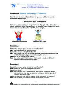 Reading: Interviews by a TV Reporter Worksheet