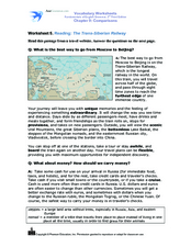 Reading: The Trans-Siberian Railway Worksheet